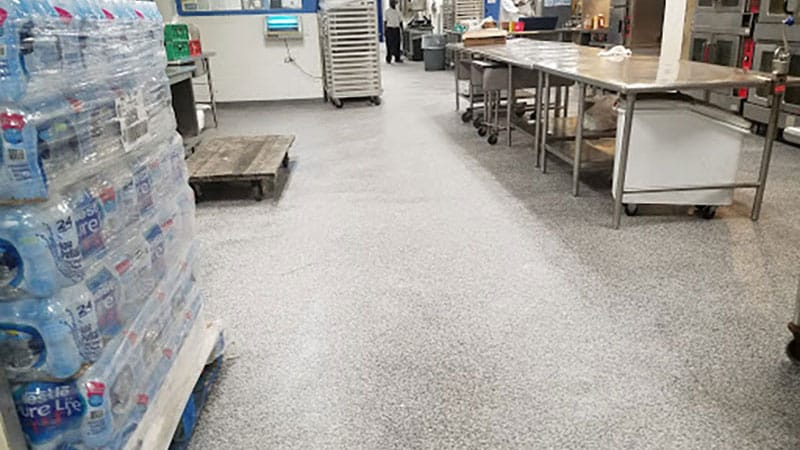 Another example of JetRock flooring on a hotel kitchen floor