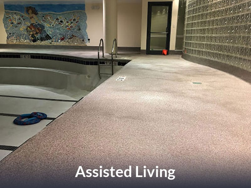 JetRock epoxy flooring applied to an assisted living pool walkway