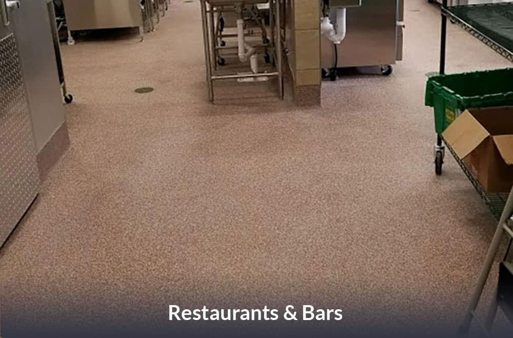 JetRock epoxy flooring applied to a commercial restaurant kitchen floor