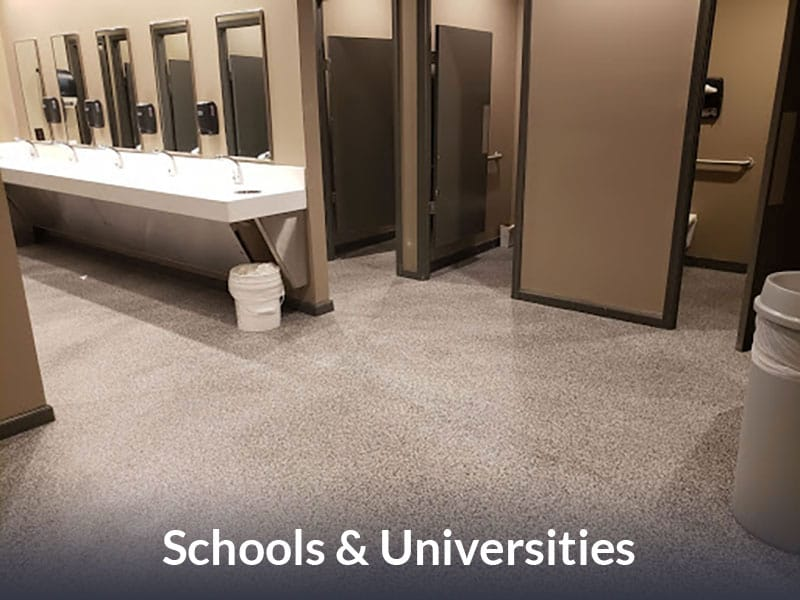 JetRock epoxy flooring applied to a school bathroom floor